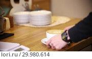 Купить «Barista serving the coffee cappuccino with latte art», видеоролик № 29980614, снято 18 февраля 2019 г. (c) Константин Шишкин / Фотобанк Лори