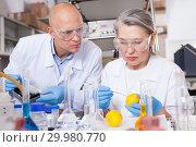 Купить «Genetic scientists working in laboratory», фото № 29980770, снято 24 января 2019 г. (c) Яков Филимонов / Фотобанк Лори
