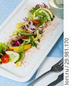 Купить «Tasty salad of boiled squids, lemon and lettuce leaves at plate», фото № 29981170, снято 26 марта 2019 г. (c) Яков Филимонов / Фотобанк Лори