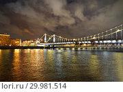 Купить «Москва-река, Крымский мост ночью», эксклюзивное фото № 29981514, снято 17 февраля 2019 г. (c) Dmitry29 / Фотобанк Лори