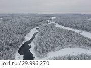Купить «Amazing Wild Olanga River In Frozen Forest. Really Snowly Winter On The North. Aerial,  Paanajärvi, Karelia, Russia», фото № 29996270, снято 9 февраля 2019 г. (c) Кирилл Трифонов / Фотобанк Лори