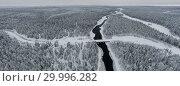 Купить «Amazing Wild Olanga River In Frozen Forest. Really Snowly Winter On The North. Aerial,  Paanajärvi, Karelia, Russia», фото № 29996282, снято 9 февраля 2019 г. (c) Кирилл Трифонов / Фотобанк Лори
