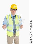 Купить «Man holding a pane and viewing it», фото № 29998886, снято 31 июля 2012 г. (c) Wavebreak Media / Фотобанк Лори