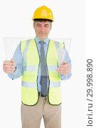 Купить «Smiling architect holding a pane», фото № 29998890, снято 31 июля 2012 г. (c) Wavebreak Media / Фотобанк Лори