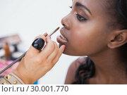 Купить «Woman sitting getting lipglosss put on», фото № 30001770, снято 27 августа 2012 г. (c) Wavebreak Media / Фотобанк Лори