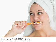 Купить «Woman with hair towel washing her teeth», фото № 30001958, снято 3 сентября 2012 г. (c) Wavebreak Media / Фотобанк Лори