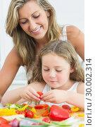 Купить «Mother looking at daughter preparing vegetables», фото № 30002314, снято 4 сентября 2012 г. (c) Wavebreak Media / Фотобанк Лори
