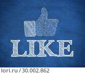 Купить «Thumb up representing social network logo above the word like», фото № 30002862, снято 4 июня 2013 г. (c) Wavebreak Media / Фотобанк Лори
