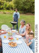 Happy extended family having a barbecue. Стоковое фото, агентство Wavebreak Media / Фотобанк Лори