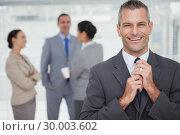 Купить «Smiling manager tidying his tie up with employees in background», фото № 30003602, снято 7 апреля 2013 г. (c) Wavebreak Media / Фотобанк Лори