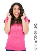 Купить «Successful brown haired woman posing», фото № 30004262, снято 17 апреля 2013 г. (c) Wavebreak Media / Фотобанк Лори