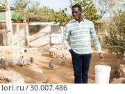 Купить «African american farmer feeds poultry in the backyard of the farm», фото № 30007486, снято 15 декабря 2018 г. (c) Яков Филимонов / Фотобанк Лори