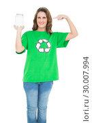 Купить «Environmental activist pointing at glass», фото № 30007994, снято 5 июня 2013 г. (c) Wavebreak Media / Фотобанк Лори