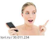 Купить «Shocked fresh blonde woman holding a mobile phone and raising her finger», фото № 30011234, снято 31 мая 2013 г. (c) Wavebreak Media / Фотобанк Лори