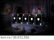 Купить «Casino white holographic card display in gambling room», фото № 30012550, снято 19 августа 2013 г. (c) Wavebreak Media / Фотобанк Лори