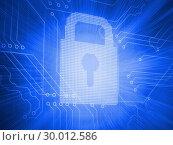 Купить «Digitally generated lock over circuit board», фото № 30012586, снято 19 августа 2013 г. (c) Wavebreak Media / Фотобанк Лори
