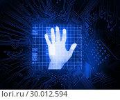 Купить «Digitally generated palm on hand scanner», фото № 30012594, снято 19 августа 2013 г. (c) Wavebreak Media / Фотобанк Лори