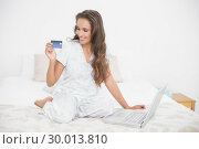 Купить «Smiling attractive brunette looking at credit card and sitting next to laptop», фото № 30013810, снято 19 июня 2013 г. (c) Wavebreak Media / Фотобанк Лори