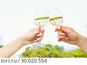 Купить «Two glasses being toasted», фото № 30020554, снято 4 июля 2013 г. (c) Wavebreak Media / Фотобанк Лори