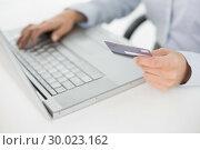 Купить «Close up mid section of a woman doing online shopping», фото № 30023162, снято 16 июля 2013 г. (c) Wavebreak Media / Фотобанк Лори