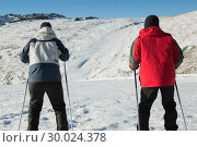 Купить «Rear view of a couple with ski poles on snow», фото № 30024378, снято 22 августа 2013 г. (c) Wavebreak Media / Фотобанк Лори