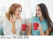 Купить «Friends with coffee cups conversing at home», фото № 30028358, снято 16 августа 2013 г. (c) Wavebreak Media / Фотобанк Лори