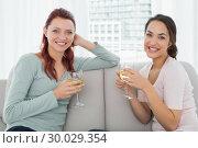 Купить «Young female friends with wine glasses at home», фото № 30029354, снято 15 августа 2013 г. (c) Wavebreak Media / Фотобанк Лори