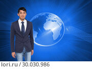 Купить «Composite image of unsmiling casual businessman walking», фото № 30030986, снято 1 ноября 2013 г. (c) Wavebreak Media / Фотобанк Лори