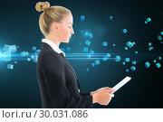 Купить «Composite image of businesswoman holding tablet», фото № 30031086, снято 1 ноября 2013 г. (c) Wavebreak Media / Фотобанк Лори