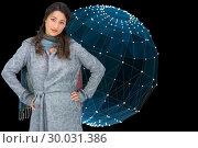 Купить «Composite image of serious pretty brunette wearing winter clothes posing», фото № 30031386, снято 1 ноября 2013 г. (c) Wavebreak Media / Фотобанк Лори