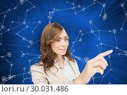 Купить «Composite image of businesswoman pressing an invisible key», фото № 30031486, снято 1 ноября 2013 г. (c) Wavebreak Media / Фотобанк Лори