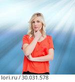 Купить «Composite image of teenager standing upright thoughtfully with her fingers on her chin», фото № 30031578, снято 2 ноября 2013 г. (c) Wavebreak Media / Фотобанк Лори