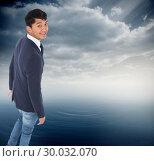 Купить «Composite image of smiling casual businessman walking», фото № 30032070, снято 2 ноября 2013 г. (c) Wavebreak Media / Фотобанк Лори