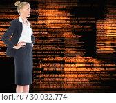Купить «Composite image of businesswoman standing with hands on hips», фото № 30032774, снято 2 ноября 2013 г. (c) Wavebreak Media / Фотобанк Лори