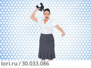 Купить «Composite image of angry businesswoman throwing binoculars away», фото № 30033086, снято 2 ноября 2013 г. (c) Wavebreak Media / Фотобанк Лори