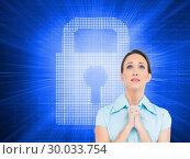 Купить «Composite image of troubled young businesswoman praying», фото № 30033754, снято 2 ноября 2013 г. (c) Wavebreak Media / Фотобанк Лори