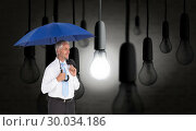 Купить «Composite image of happy businessman holding umbrella», фото № 30034186, снято 2 ноября 2013 г. (c) Wavebreak Media / Фотобанк Лори