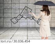 Купить «Composite image of elegant businesswoman holding black umbrella», фото № 30036454, снято 9 ноября 2013 г. (c) Wavebreak Media / Фотобанк Лори