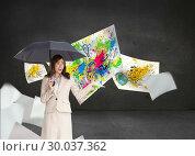 Купить «Composite image of elegant businesswoman holding black umbrella», фото № 30037362, снято 9 ноября 2013 г. (c) Wavebreak Media / Фотобанк Лори