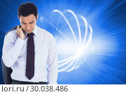Купить «Composite image of unsmiling businessman standing», фото № 30038486, снято 10 ноября 2013 г. (c) Wavebreak Media / Фотобанк Лори