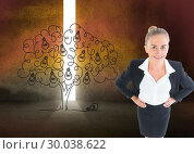 Купить «Composite image of businesswoman standing with hands on hips», фото № 30038622, снято 10 ноября 2013 г. (c) Wavebreak Media / Фотобанк Лори