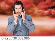 Купить «Composite image of angry businessman tangle up in phone wires », фото № 30038986, снято 10 ноября 2013 г. (c) Wavebreak Media / Фотобанк Лори