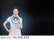 Купить «Composite image of furious classy businesswoman talking in megaphone», фото № 30040854, снято 10 ноября 2013 г. (c) Wavebreak Media / Фотобанк Лори