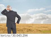 Купить «Composite image of rear view of doubtful mature businessman », фото № 30043294, снято 11 ноября 2013 г. (c) Wavebreak Media / Фотобанк Лори
