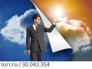 Купить «Composite image of stern businessman presenting», фото № 30043354, снято 11 ноября 2013 г. (c) Wavebreak Media / Фотобанк Лори
