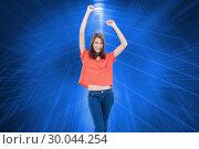 Купить «Composite image of laughing teenage wearing casual clothes while raising her arms», фото № 30044254, снято 11 ноября 2013 г. (c) Wavebreak Media / Фотобанк Лори