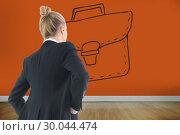Купить «Composite image of businesswoman standing with hands on hips», фото № 30044474, снято 11 ноября 2013 г. (c) Wavebreak Media / Фотобанк Лори