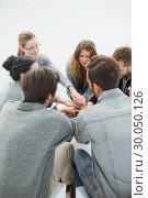 Купить «Group therapy in session sitting in a circle», фото № 30050126, снято 4 ноября 2013 г. (c) Wavebreak Media / Фотобанк Лори