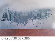 Splash on wall revealing city view. Стоковое фото, агентство Wavebreak Media / Фотобанк Лори