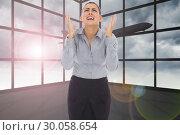 Купить «Composite image of frustrated businesswoman shouting», фото № 30058654, снято 11 декабря 2013 г. (c) Wavebreak Media / Фотобанк Лори